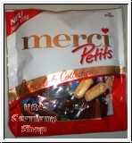 A box of creamy, rich merci chocolates in flavors like dark mousse  coffee and